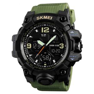 Ceas de mana barbati Skmei, Army, Militar, Dual Time, Shock Resistant, Digital, Sport, Cronograf2