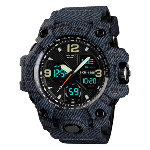 Ceas barbatesc Skmei, Militar, Shock Resistant, Digital, Sport, Army, Dual time, Cronograf1