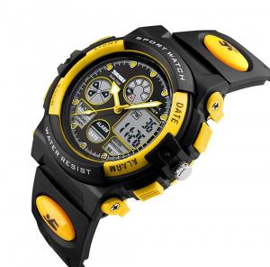 Ceas pentru copii, Sport, Dual-Time, Casual, Quartz, Curea din PU5