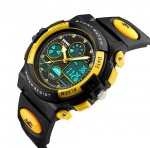 Ceas pentru copii, Sport, Dual-Time, Casual, Quartz, Curea din PU0