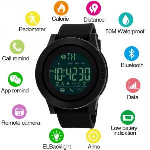 Ceas smartwatch Skmei 1255, Pedometru, Calorii, Distanta, Bluetooth, Buton Fotografiere2