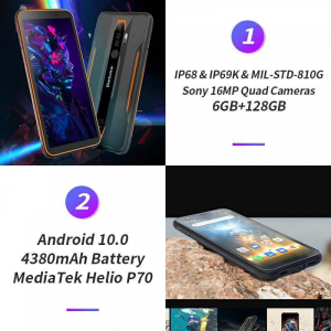 Telefon mobil Blackview BV6300 PRO, Android 10, 4G, Bateria 4380 mAh, Ecran IPS 5.7'', Procesor Helio P70 OctaCore, Dual SIM, RAM 6GB, ROM 128GB, Baterie 4380mAh, 16 Milioane Culori, Giroscop, GPS, Ne18