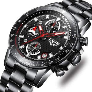 Ceas barbatesc, Lige, Business, Luxury, Elegant, Quartz, Cronograf, Calendar, Rezistenta la apa 3ATM [0]