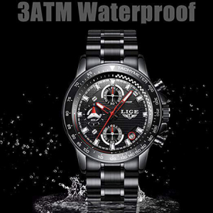 Ceas barbatesc, Lige, Business, Luxury, Elegant, Quartz, Cronograf, Calendar, Rezistenta la apa 3ATM3