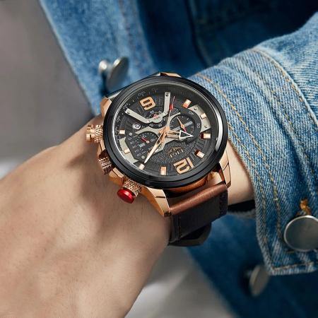 Ceas barbatesc Lige Casual Cronograf Automatic Quartz [5]