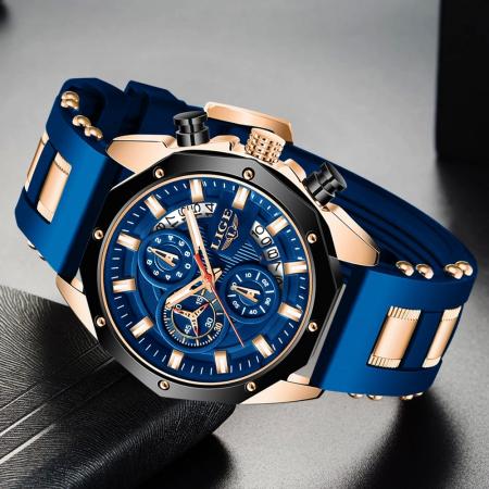 Ceas barbatesc Lige Fashion Cronograf Silicon Quartz3