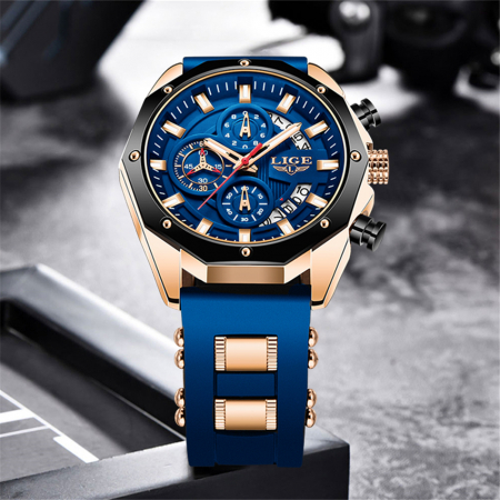 Ceas barbatesc Lige Fashion Cronograf Silicon Quartz5