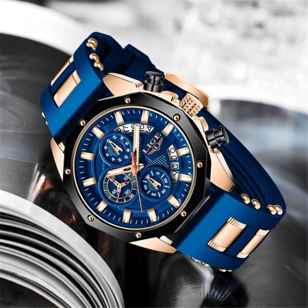 Ceas barbatesc Lige Fashion Cronograf Silicon Quartz6