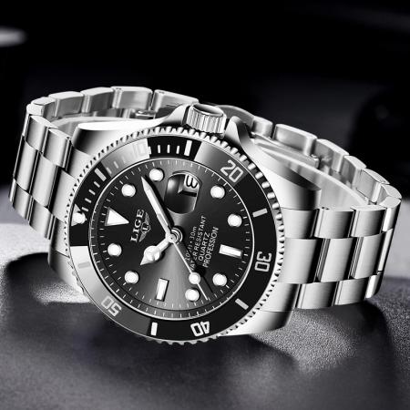 Ceas barbatesc Lige Submariner Luxury Quartz Otel inoxidabil5