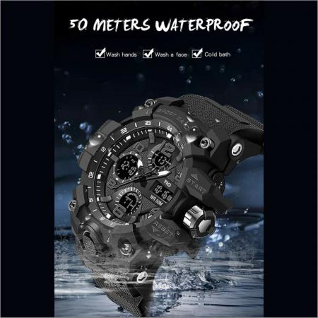 Ceas barbatesc TIO, Militar, Sport, Cronograf, Army, Digital, Rezistent la socuri si apa [6]