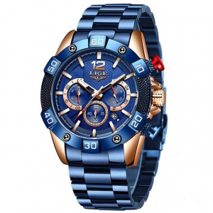 Ceas barbati Lige Elegant Model 2020 Quartz Analog Cronograf Fashion0