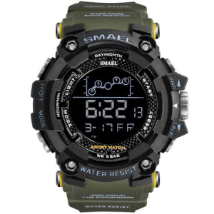 Ceas barbatesc Smael Army Green , Shock resistant, Sport, Militar, Digital, Dual Time, Cronograf0