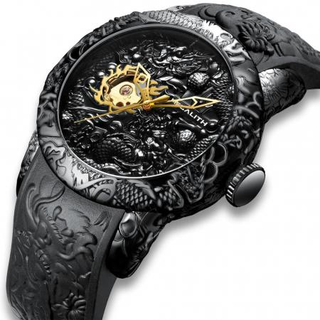 Ceas mecanic automatic barbatesc Megalith 3D Design Luxury0