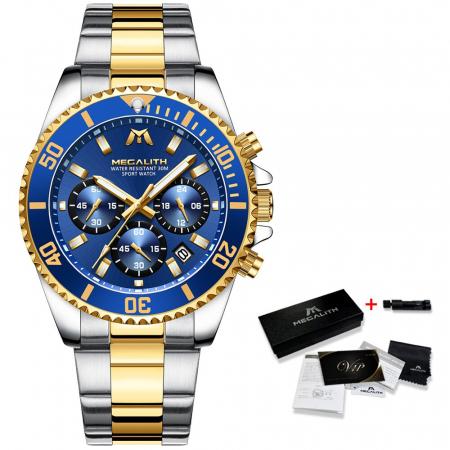 Ceas Megalith Quartz Otel inoxidabil Luxury Cronograf [2]