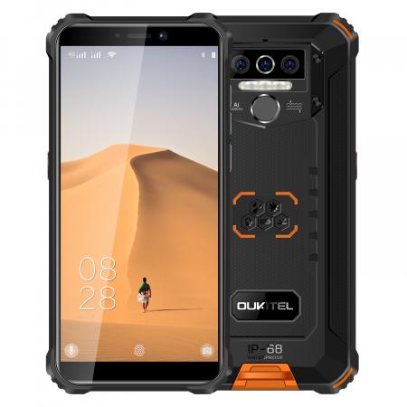 Telefon mobil Oukitel WP5, Smartphone rezistent, Baterie 8000 mAh IPS 5.5inch, 4GB RAM, 32GB ROM, Android 9.0, Orange3