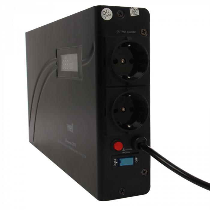 Stabilizator automat de tensiune cu releu 1500VA, orizontal, Well 1