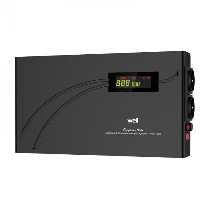 Stabilizator automat de tensiune cu releu 1500VA, orizontal, Well 0