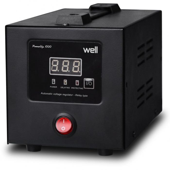 Stabilizator automat de tensiune cu releu 1500VA, negru Well 0
