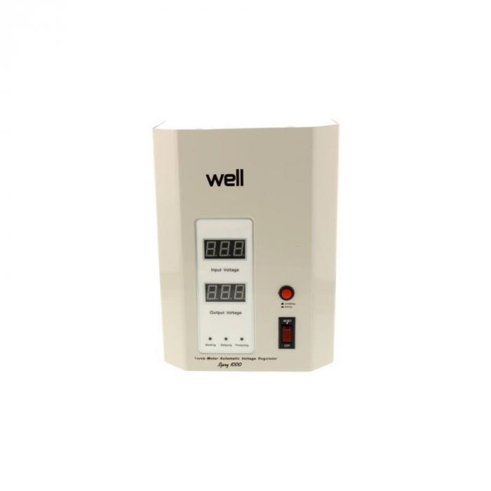 Stabilizator automat de tensiune cu servo motor montabil pe perete, 1000VA, alb, Well 0