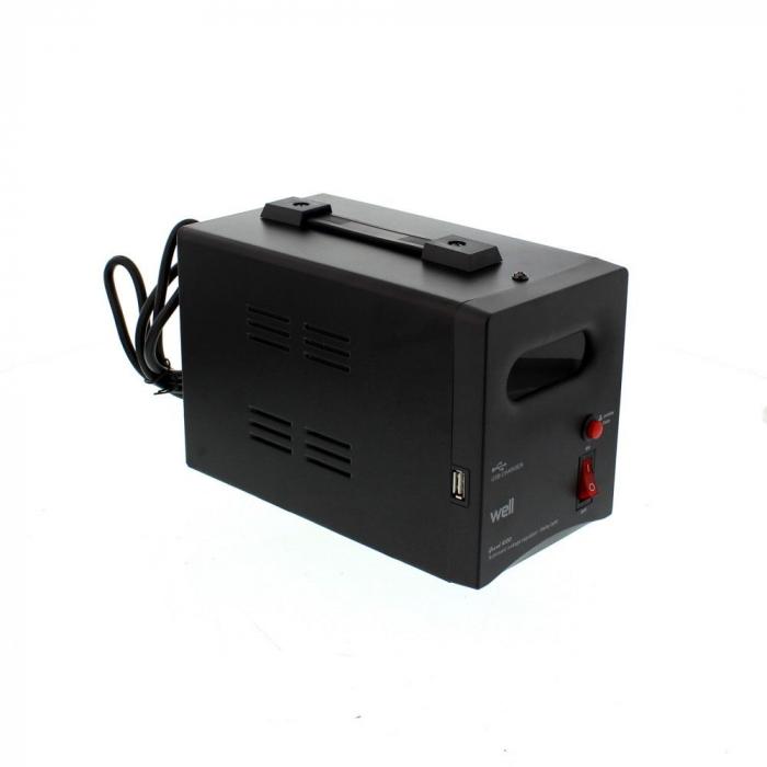 Stabilizator automat de tensiune cu releu 1000VA, negru Well 1