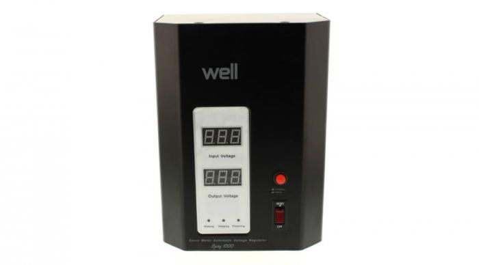 Stabilizator automat de tensiune cu servo motor montabil pe perete, 1000VA, negru, Well 0