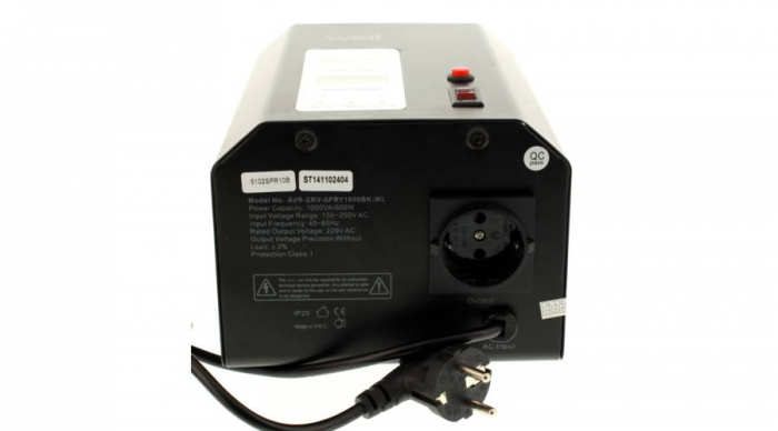 Stabilizator automat de tensiune cu servo motor montabil pe perete, 1000VA, negru, Well 1
