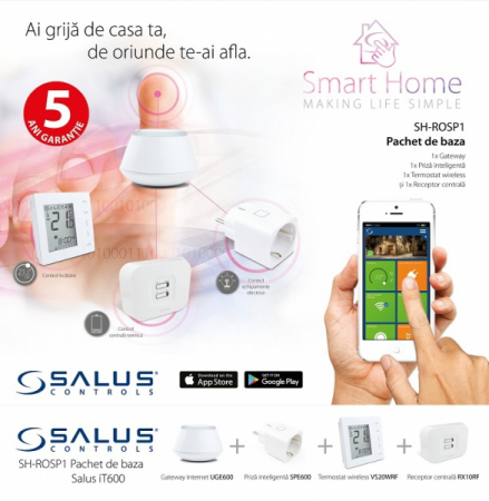 Smart Home Salus IT600 pachet baza Gateway UGE600, Termostat digital 4 in 1 VS20WRF, Receptor de sistem RX10RF, priza inteligenta SPE600. 5 ani garantie0