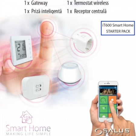 Smart Home Salus IT600 pachet baza Gateway UGE600, Termostat digital 4 in 1 VS20WRF, Receptor de sistem RX10RF, priza inteligenta SPE600. 5 ani garantie3