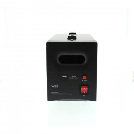Stabilizator automat de tensiune cu releu 1000VA, negru Well [0]