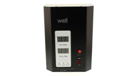 Stabilizator automat de tensiune cu servo motor montabil pe perete, 500VA, negru, Well0
