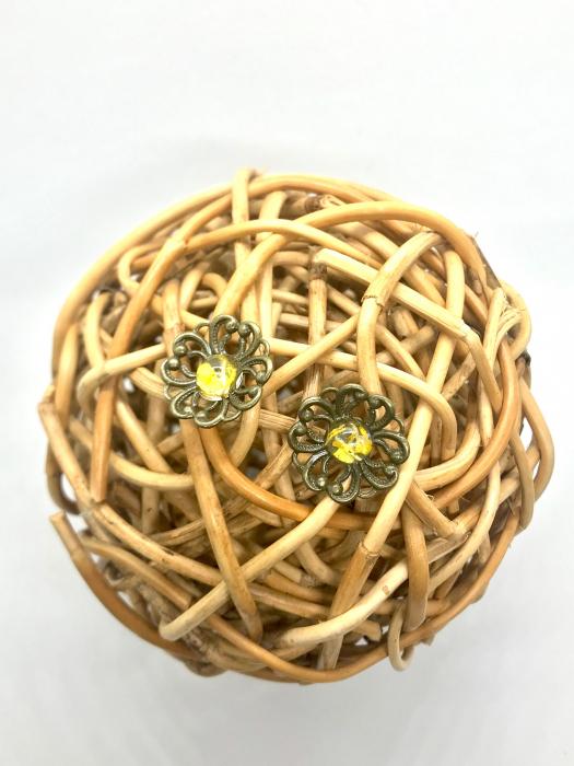 Cercei cu flori galbene 3