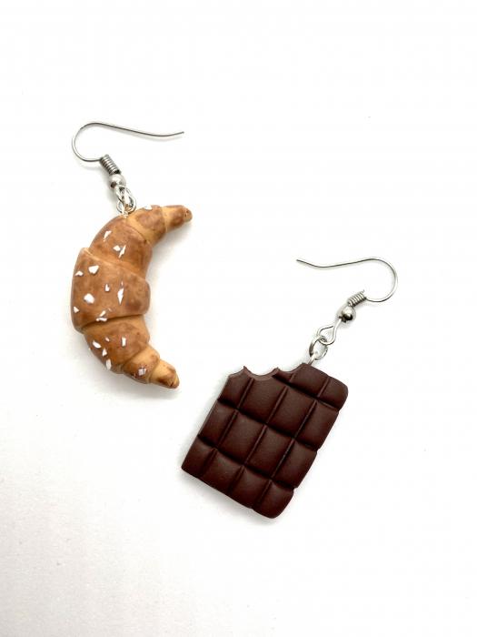 Cercei cu ciocolata si croissant cercercei - Cercei Handmade [0]