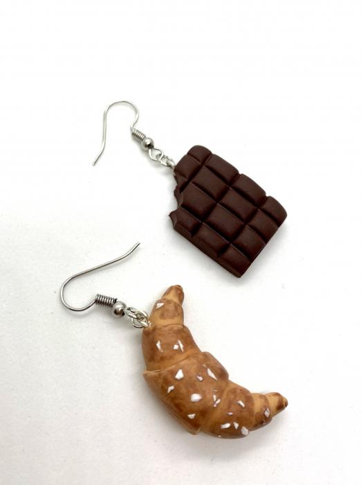 Cercei cu ciocolata si croissant cercercei - Cercei Handmade [3]