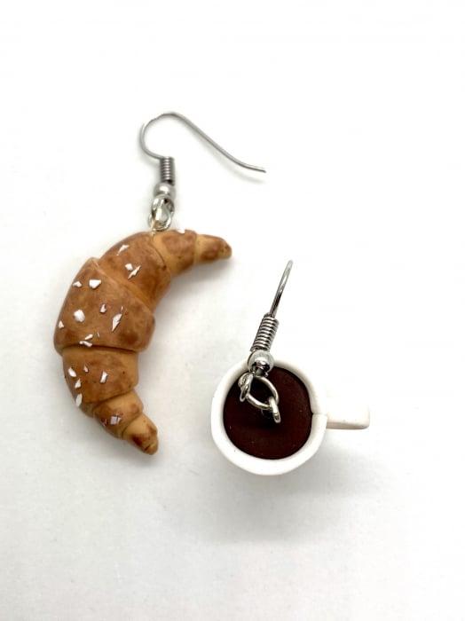 Cercei cu cafea si croissant cercercei - Cercei Handmade [0]