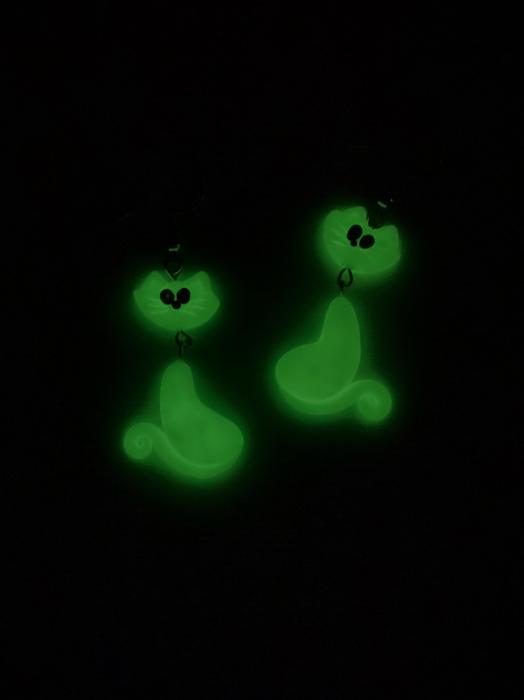 Cercei cu pisici fluorescente cercercei - Cercei Handmade 1
