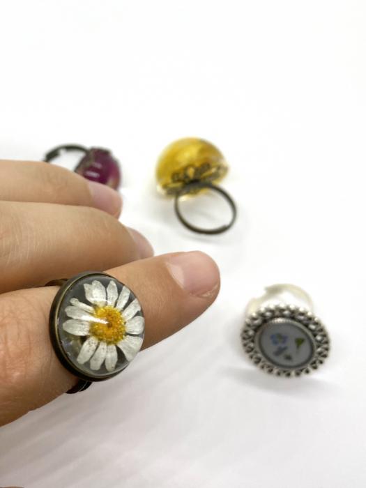 Inel handmande cu flore de margareta cercercei [4]