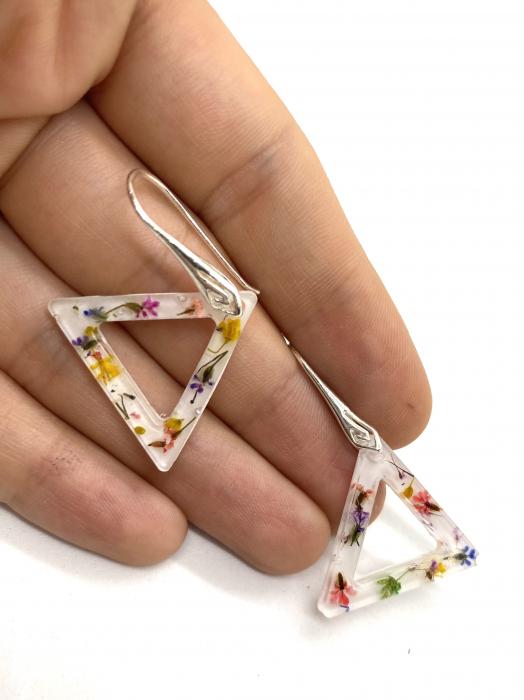 Cercei triunghi cu flori montati in argint - Cercei Handmade [5]