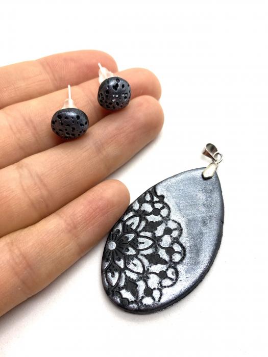 Set de bijuterii handmade cu mandala cercercei [3]