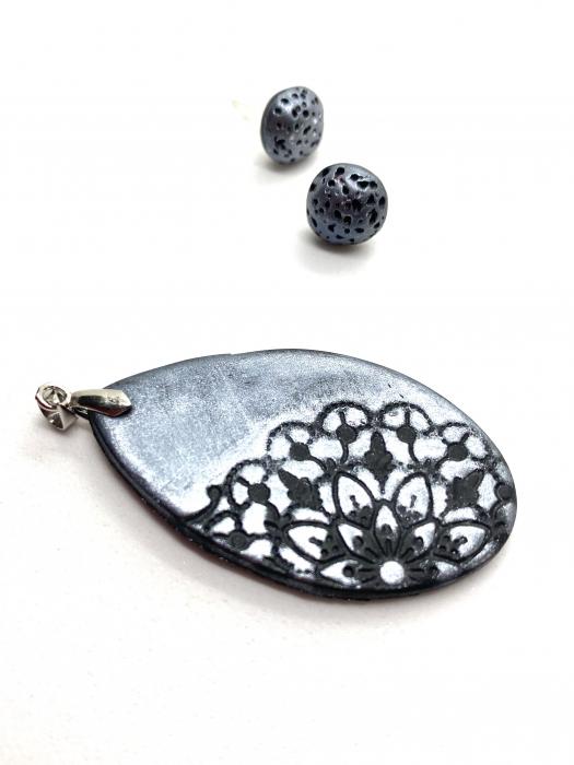 Set de bijuterii handmade cu mandala cercercei [7]