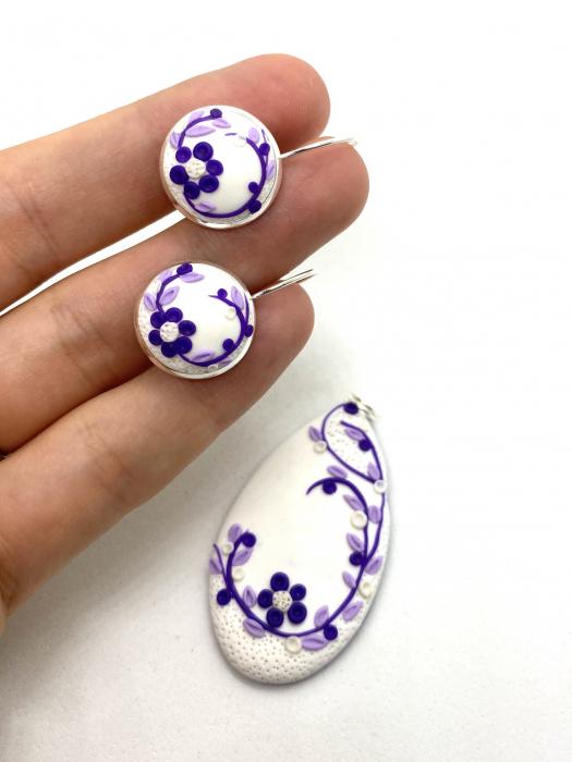 Set de bijuterii din argint cu flori mov - Set bijuterii handmade [0]
