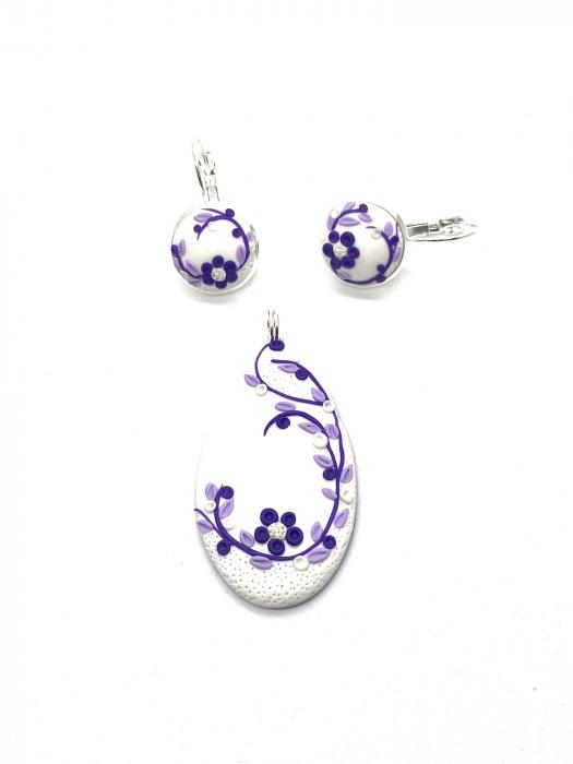Set de bijuterii din argint cu flori mov - Set bijuterii handmade [2]