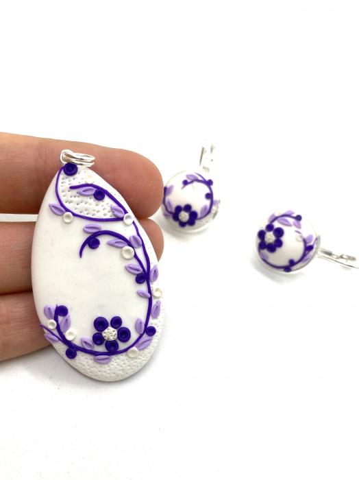 Set de bijuterii din argint cu flori mov - Set bijuterii handmade [3]