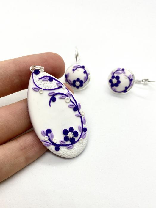 Set de bijuterii din argint cu flori mov - Set bijuterii handmade [4]