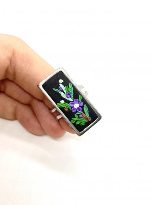 Inel reglabil cu flori mov - Inel handmade 4