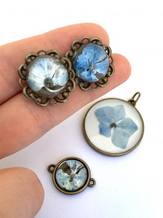 Set bijuterii cu hortensii cercercei 1