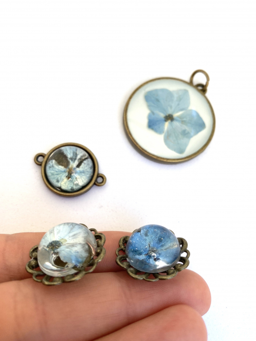 Set bijuterii cu hortensii cercercei 2