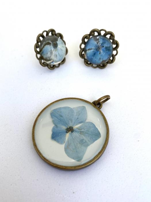 Set bijuterii cu hortensii cercercei 4