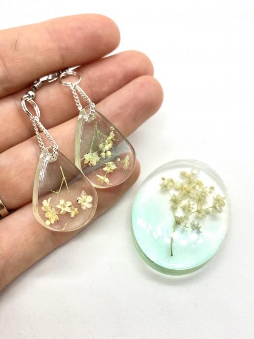 Set de bijuterii cu flori de soc cercercei handmade [4]