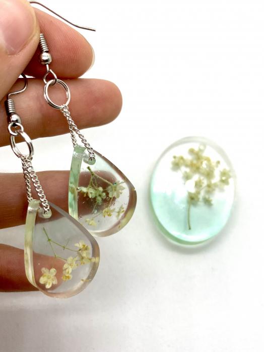 Set de bijuterii cu flori de soc cercercei handmade [3]