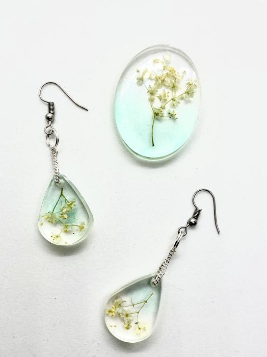 Set de bijuterii cu flori de soc cercercei handmade [1]